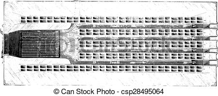 Clip Art Vector of Horizontal section of the furnace refractory.