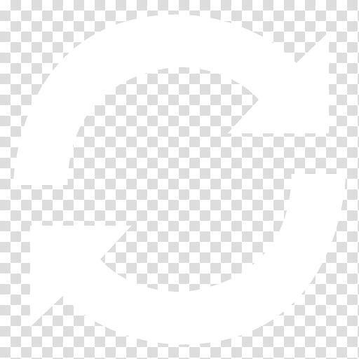 Black n White, white refresh icon transparent background PNG.