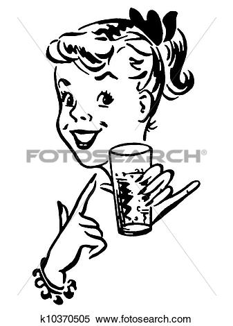 Stock Illustration of A black and white version of a young girl.