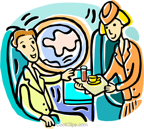 serving refreshments to passenger Royalty Free Vector Clip.