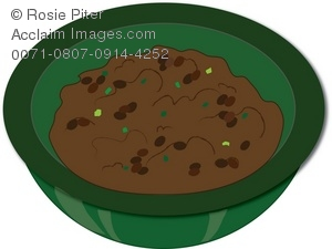 Stock Clipart Illustration of a Bowl of Refried Black Beans.
