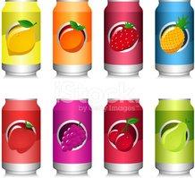 Coleção DE Lata DE Refrigerante DE Frutas Stock Vector.