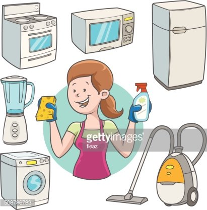 Woman cleaning the house Clipart Image.