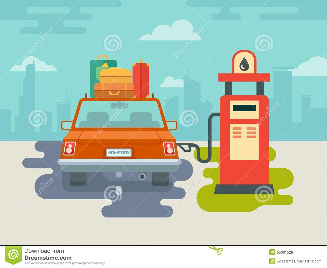 Refuel Car At Gas Station Stock Vector.