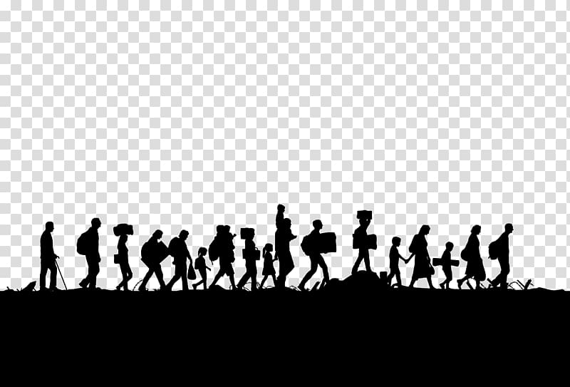 Silhouette of people walking in line illustration, European.