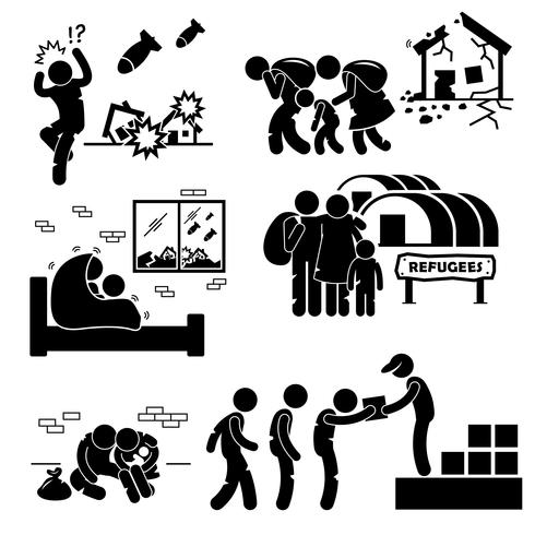 Refugees Evacuee War Stick Figure Pictogram Icons.