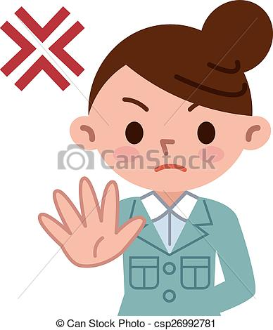 Vector of Young woman refuses.