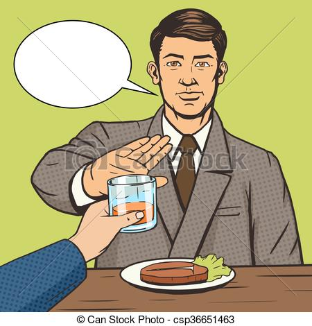 Clip Art Vector of Man refuses drink pop art style vector.