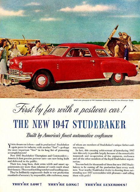 """1947 Studebaker Commander Regal Starlight Coupe: """"Studebaker."""