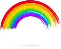 Vector Paintbrush With Acrylic Painted Rainbow Stock Vector.