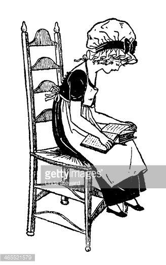 Regency Era Girl Sitting on A Chair, Reading stock vectors.