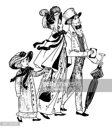 Regency Era Family Walking TO Church premium clipart.