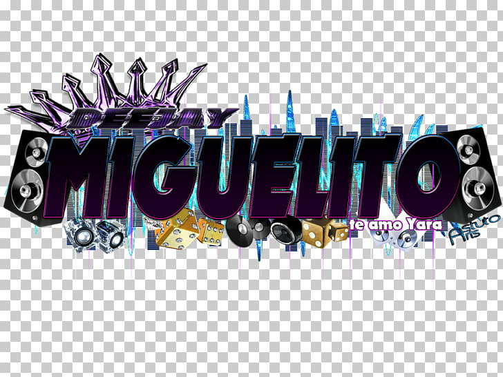 Purple Violet Virtual DJ Disc jockey Font, reggaeton PNG.