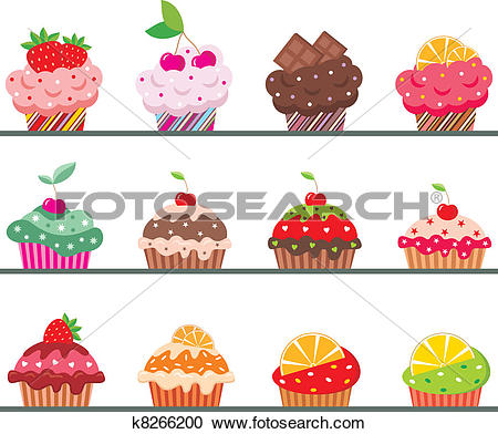 Clipart of Cupcakes on a regiment k8266200.