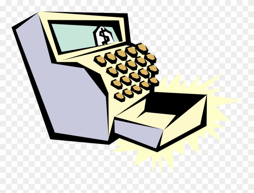 Vector Illustration Of Cash Register For Registering Clipart.