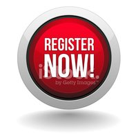 Big Red Register Now Button stock vectors.