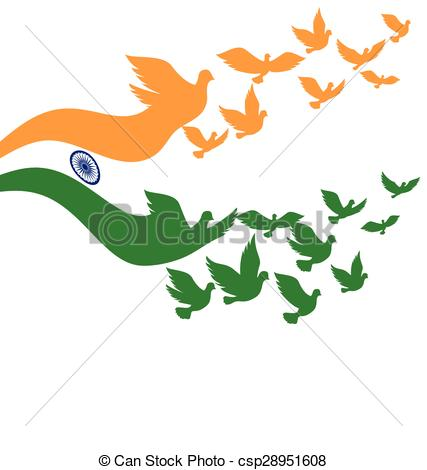 Vector Clipart of Abstract India flag with flying pigeon.