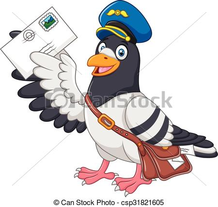 Vector Clipart of Cartoon funny pigeon delivering.