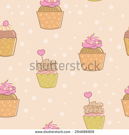 Pattern With Cute And Delicious Cupcakes. Cartoon Cupcakes For The.