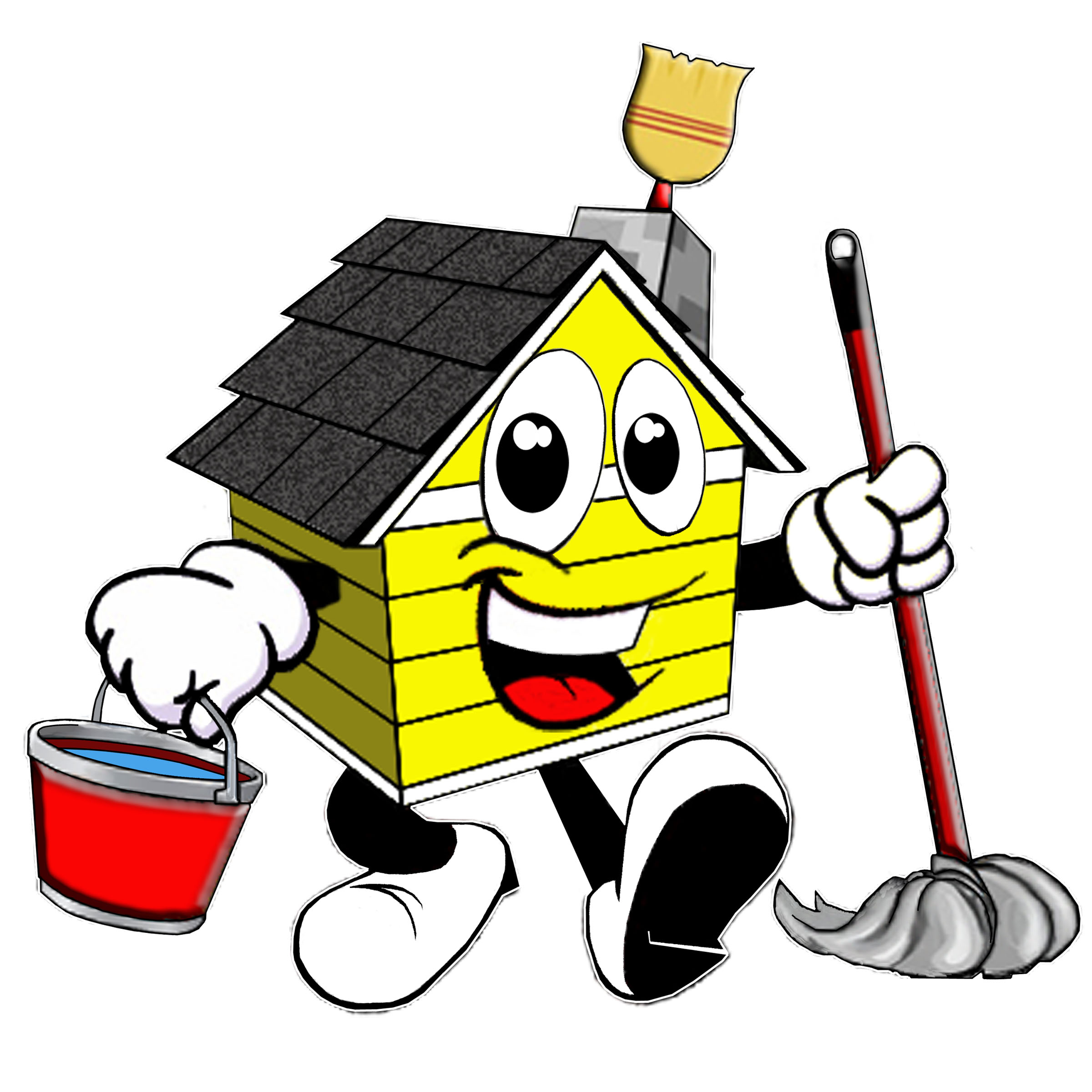 House Cleaning: Professional Cartoon House Cleaning Logos.