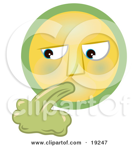 Clipart Illustration of a Grossed Out Yellow And Green Smiley Face.