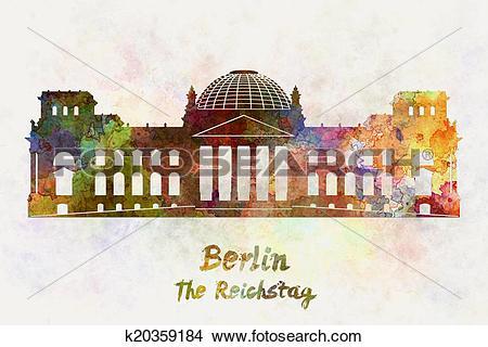 Drawings of Berlin Landmark The Reichstag in watercolor k20359184.