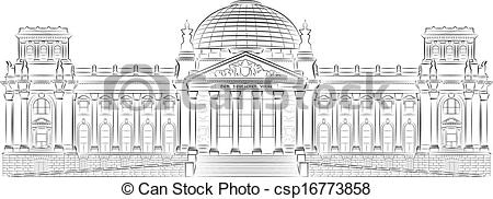 Clipart Vector of Reichstag building stylized illustration in.
