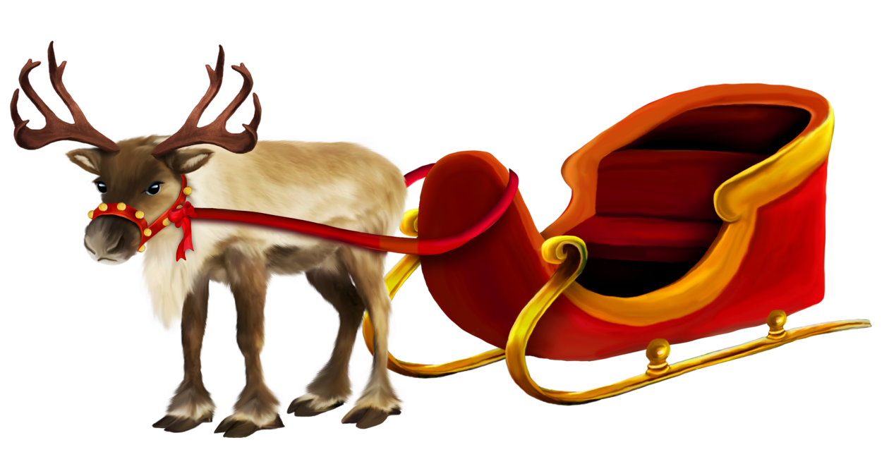 Christmas Reindeer and Sleigh png Picture.