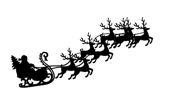 Santa sleigh and reindeer flying with sleigh clip art.