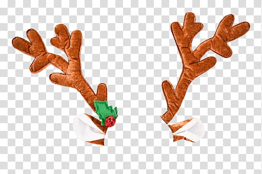 CHRISTMAS, brown reindeer antlers transparent background PNG.