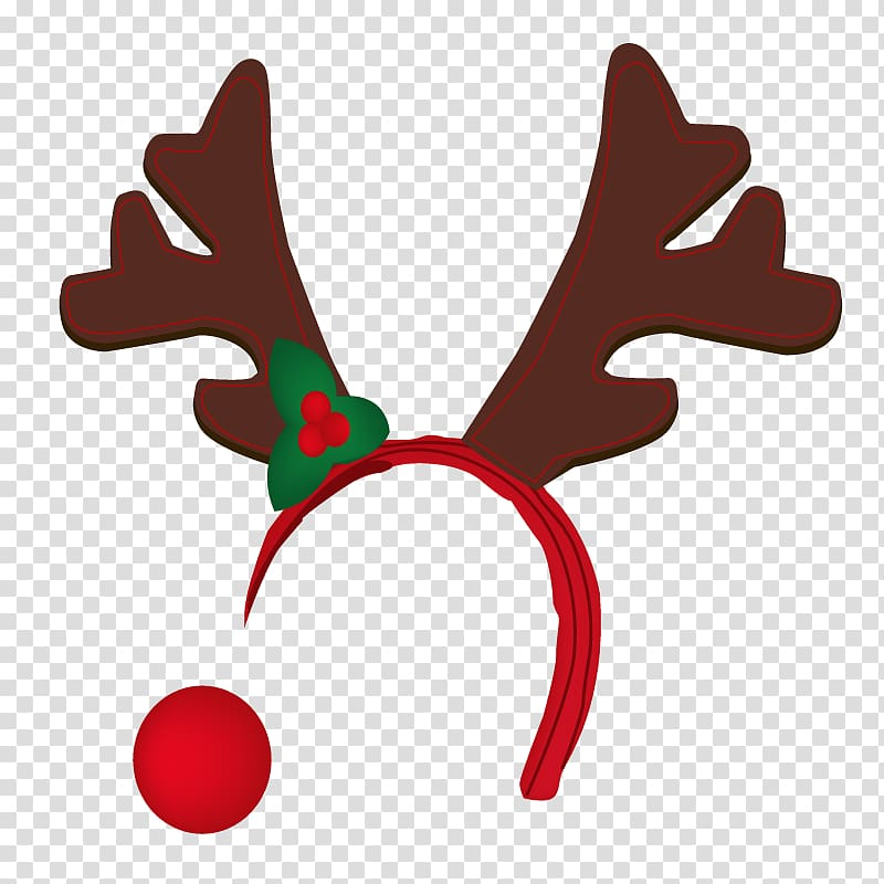 Reindeer Rudolph Antler , nose transparent background PNG.