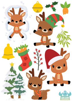 Christmas Reindeer Clipart, Instant Download Vector Art, Commercial Use  Clip Art.