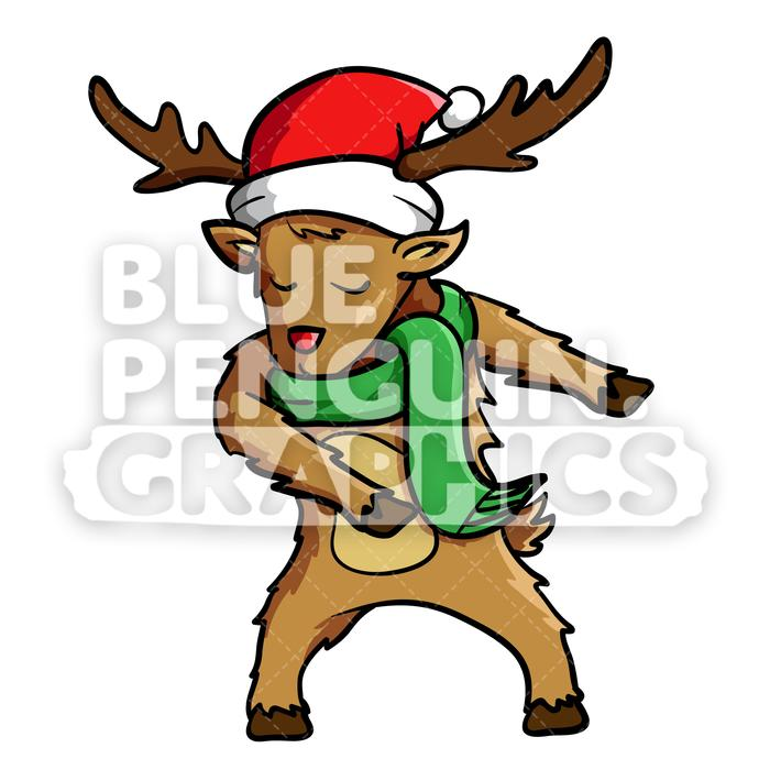 Reindeer Floss Dance Vector Cartoon Clipart Illustration.