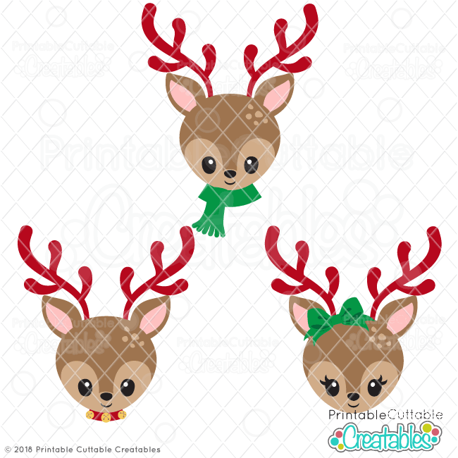 Christmas Reindeer Face SVG Files.