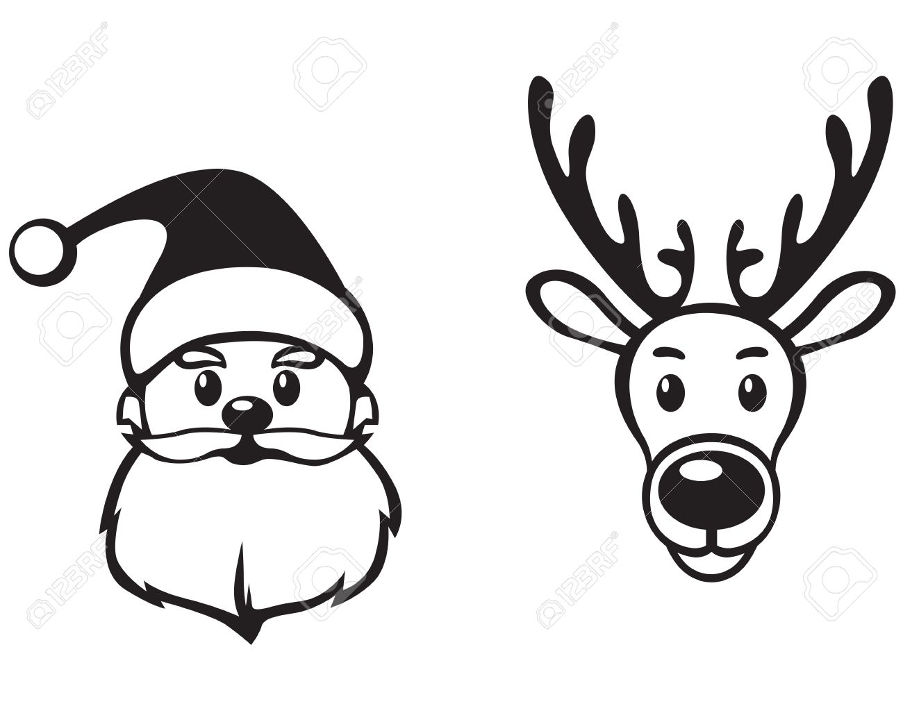 Rudolph Face Clipart Black And White.