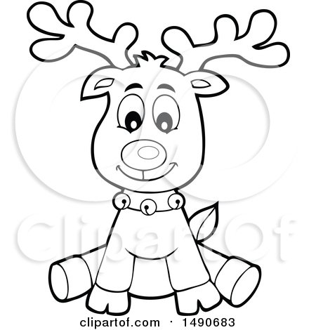 Christmas Reindeer Clipart Black And White.