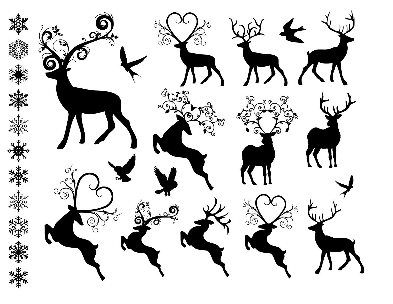 Merry Christmas Reindeer Clipart Black And White.