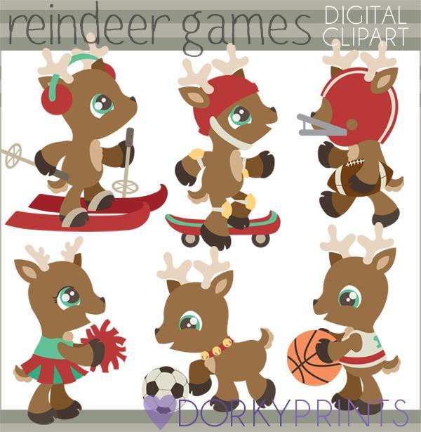 Reindeer Games Christmas Clipart.