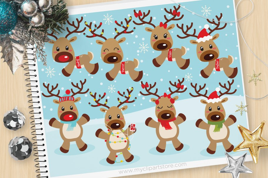 Reindeer Games, Christmas Clipart.
