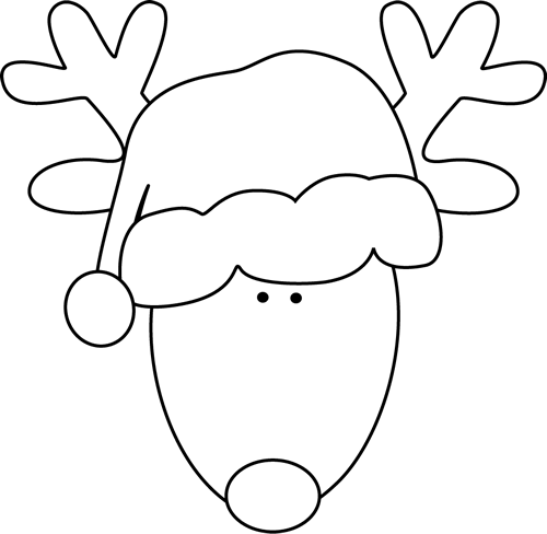 Black and White Reindeer Head.