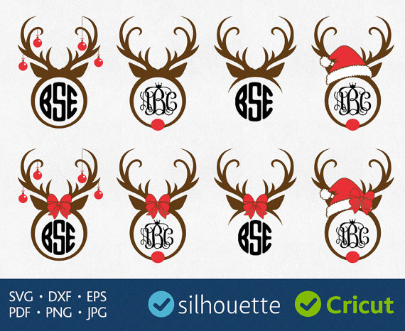 Christmas Reindeer Svg Antlers Monogram Svg Cricut Christmas.