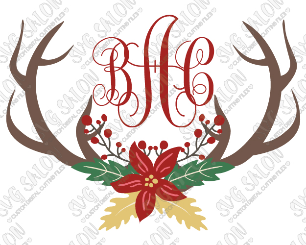 Christmas Reindeer Antler Poinsettia Wreath Monogram Cut File in SVG, EPS,  DXF, JPEG, and PNG.