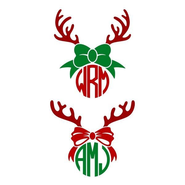 Reindeer Bow Antlers Monogram SVG Cuttable Frame.