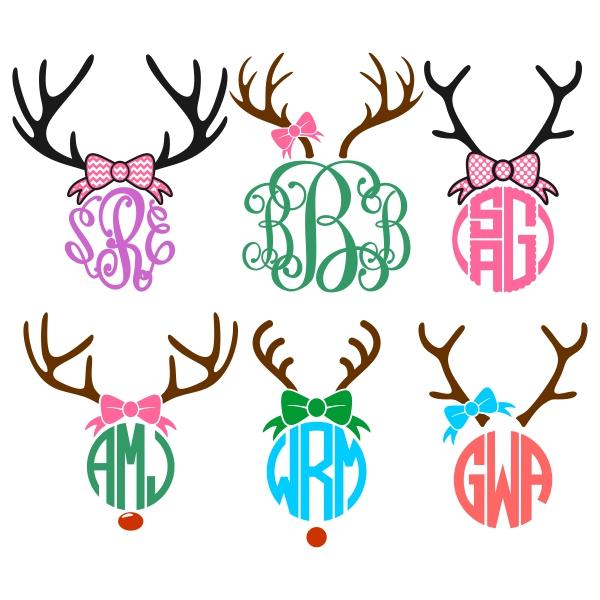 Reindeer Rudolph Monogram Cuttable Design Frames.