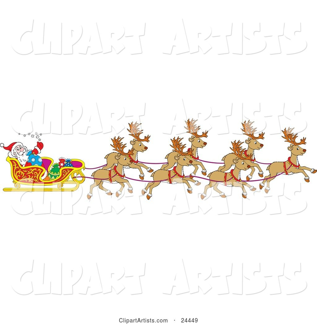 Team Of Santa\'s Reindeer Pulling The Sleigh On Christmas Eve.