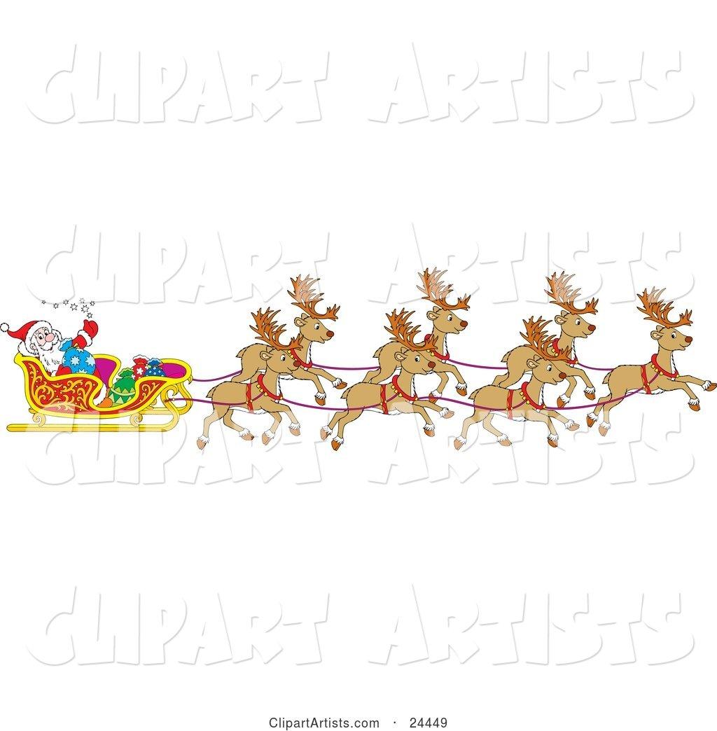 Team Of Santa\'s Reindeer Pulling The Sleigh On Christmas Eve.
