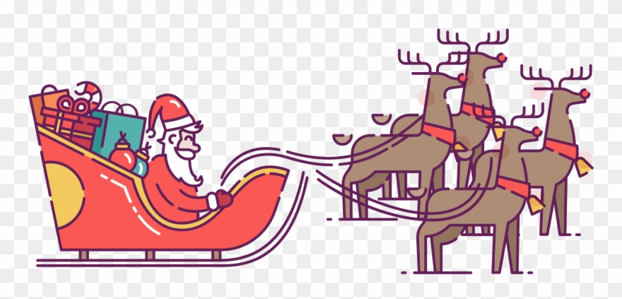 Santa In Sleigh Pulled By Reindeer Clip Art.