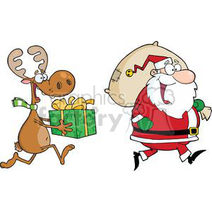 cartoon reindeer running with Santa delivering gifts clipart. Royalty.
