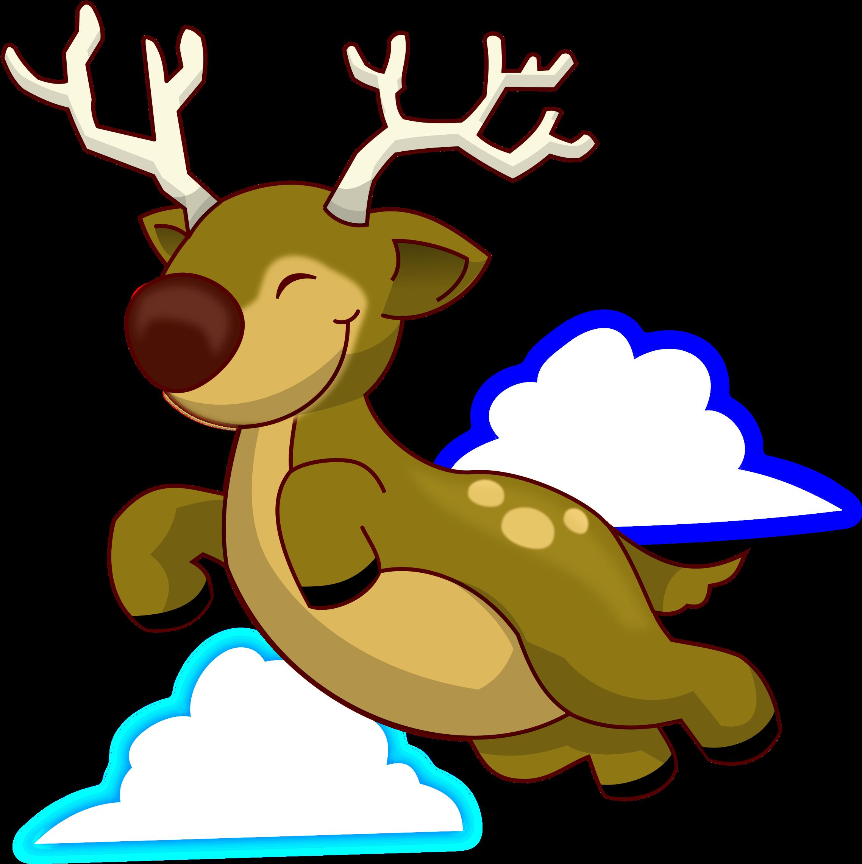 Of A Cartoon Reindeer Running Or Dancing Vector Clip.