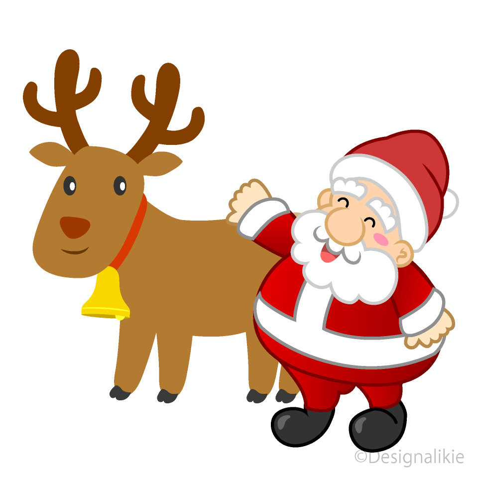 Cute reindeer and Santa Clipart Free Picture|Illustoon.